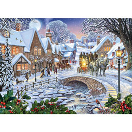 Winter Village Stream 500 Piece Giant Jigsaw Puzzle