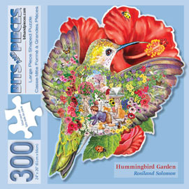 Hummingbird Garden Shaped 300 Large Piece Shaped Jigsaw Puzzle