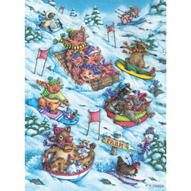 Hoggin' The Toboggan 300 Large Piece Jigsaw Puzzle