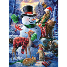 Who's Decorating The Snowman 300 Large Piece Jigsaw Puzzle