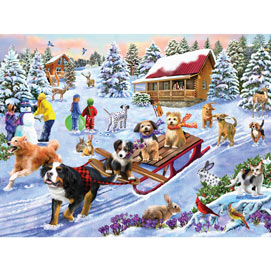 Sled Antics 500 Piece Jigsaw Puzzle