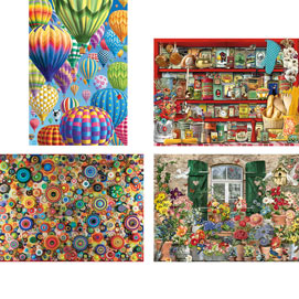 Set of 4: Fun Challenging 300 Large Piece Jigsaw Puzzles