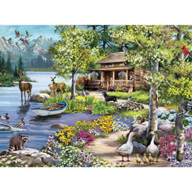 Cabin By The Lake 300 Large Piece Jigsaw Puzzle