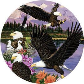 Eagle Sanctuary 500 Piece Round Jigsaw Puzzle