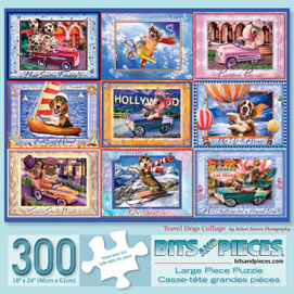 Travel Dogs Collage 300 Large Piece Jigsaw Puzzle