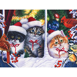 Christmas Cats in the Window 1000 Piece Jigsaw Puzzle