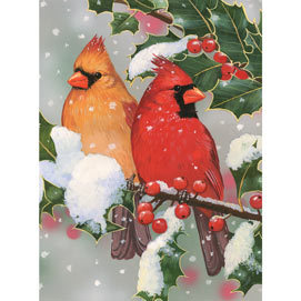 Cardinal Couple With Holly 1000 Piece Jigsaw Puzzle