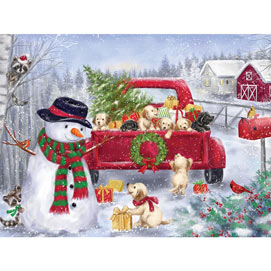 Red Truck With Puppies 500 Piece Jigsaw Puzzle