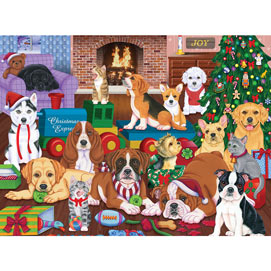 Puppies Christmas Eve 1000 Piece Jigsaw Puzzle