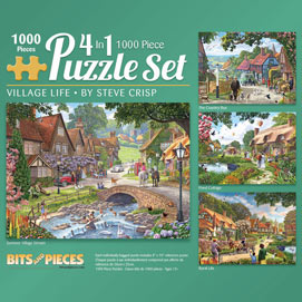 Village Life 4-in-1 Multi-Pack 1000 Piece Puzzle Set
