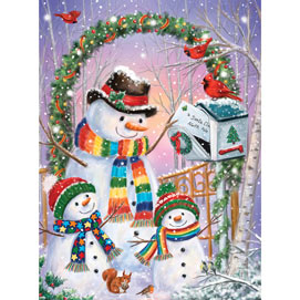 Snowman Family Posting A Letter 1000 Piece Jigsaw Puzzle