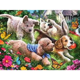Puppies Having Fun 500 Piece Jigsaw Puzzle