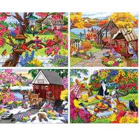 Rustic Gardens 300 Large Piece 4-in-1 Multi-Pack Puzzle Sets