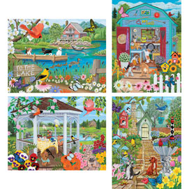 Set of 4: Kathy Bambeck 300 Large Piece Jigsaw Puzzles