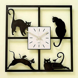 Cats In the Window Clock