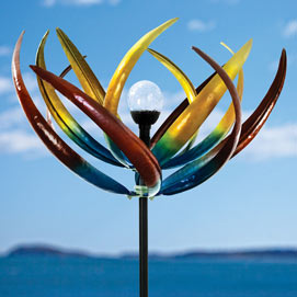 Solar Multi-Colour Tulip Wind Spinner