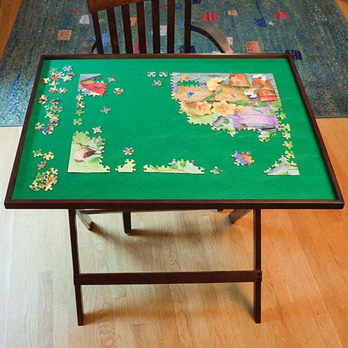 Fold Away Puzzle Table - Walnut Tone
