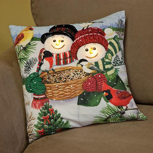 Snowmen Light-Up Pillow