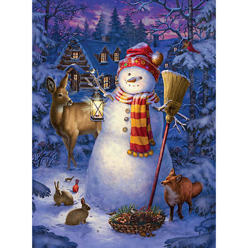 Night Watch Snowman 1000 Piece Glow-In-The-Dark Jigsaw Puzzle