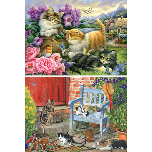 Set of 2: Adorable Cat 300 Large Piece Jigsaw Puzzles