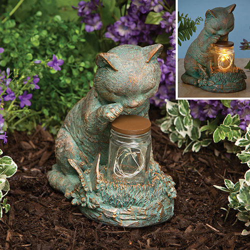 Cat with LED Solar Jar Garden Décor