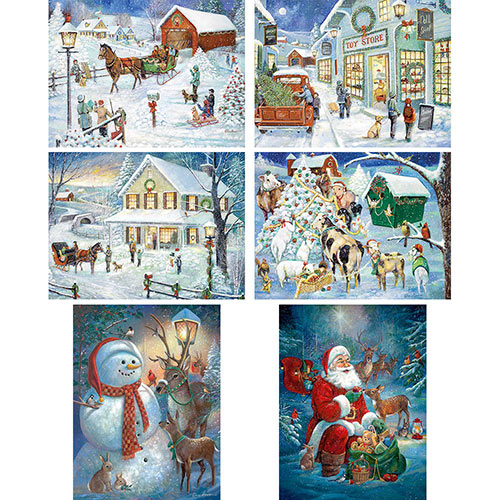 Set of 6: Ruane Manning Holiday 1000 Piece Jigsaw Puzzles