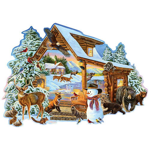 Winter Cabin 300 Large Piece Shaped Jigsaw Puzzle