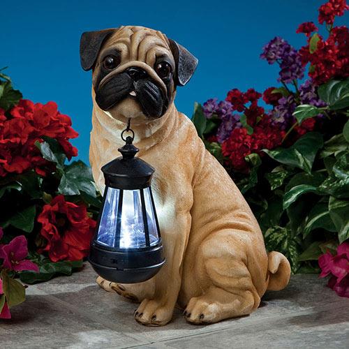 Fawn Pug Solar LED Dog Breed Garden Lantern