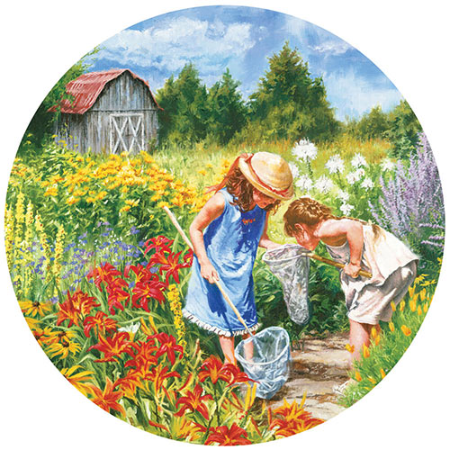 Where the Butterflies Go 300 Large Piece Round Jigsaw Puzzle