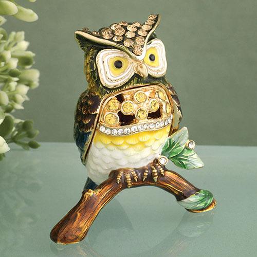 Enamel Owl Trinket Box