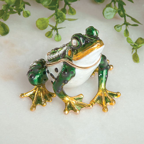Jeweled Frog Trinket Box
