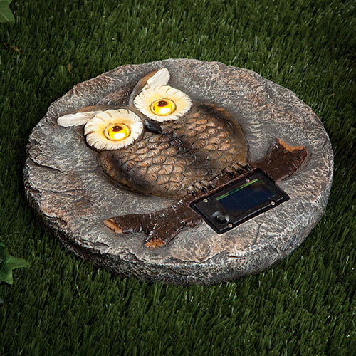 Solar Owl LED Garden Stone