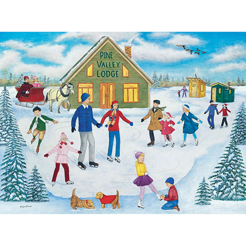 Pine Valley Lodge Skating 1000 Piece Jigsaw Puzzle
