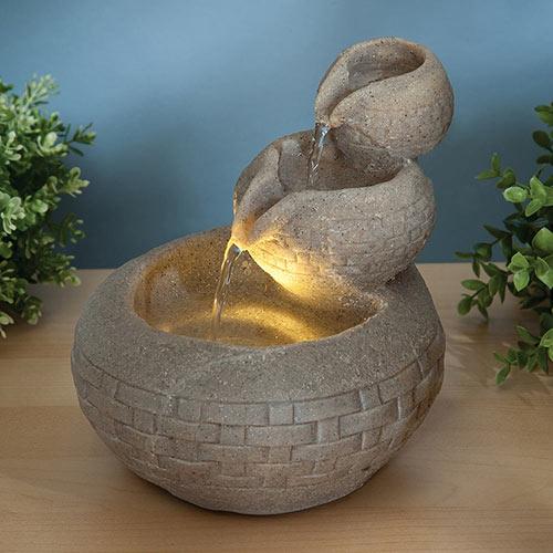 Triple Bowl LED Fountain