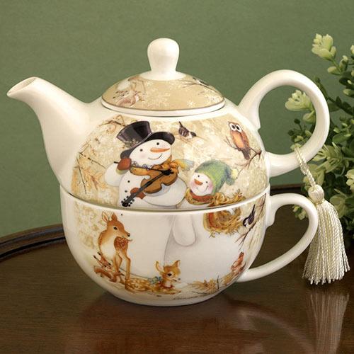 Snowman Tea for One Porcelain Set