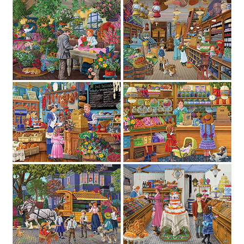 Set of 6: Joseph Burgess 1000 Piece Puzzles