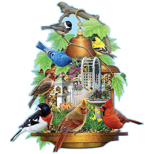 Song Bird Feeder 300 Large Piece Shaped Jigsaw Puzzle