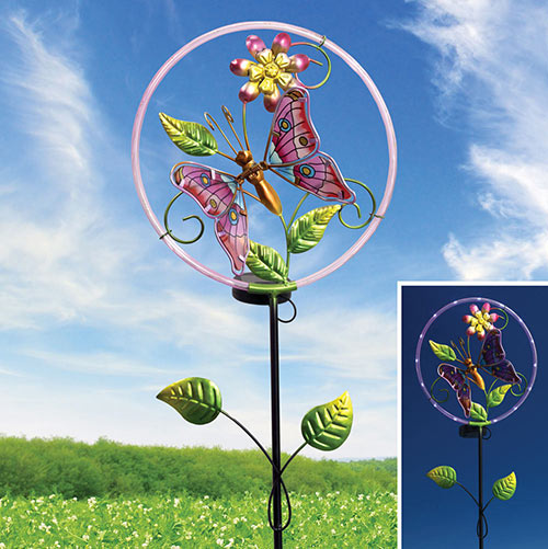 Solar Butterfly Metal Garden Stake