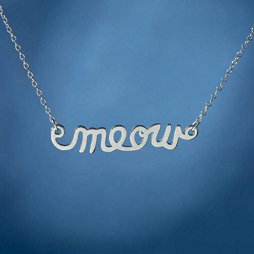 Sterling Silver Meow Necklace