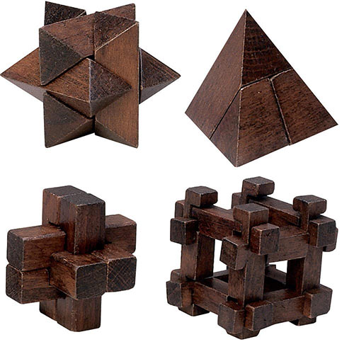 Set of 4: Dark Wood Wooden Puzzles