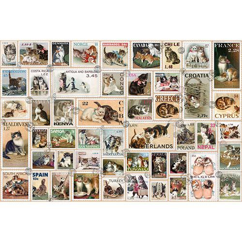 Cat Stamps Quilt 1000 Piece Jigsaw Puzzle