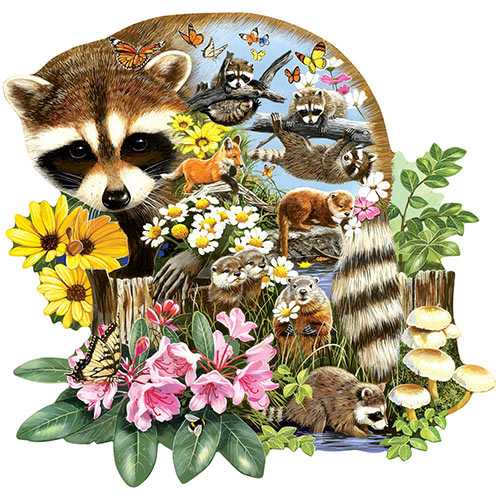 Raccoon Cub 750 Standard Piece Shaped Jigsaw Puzzle