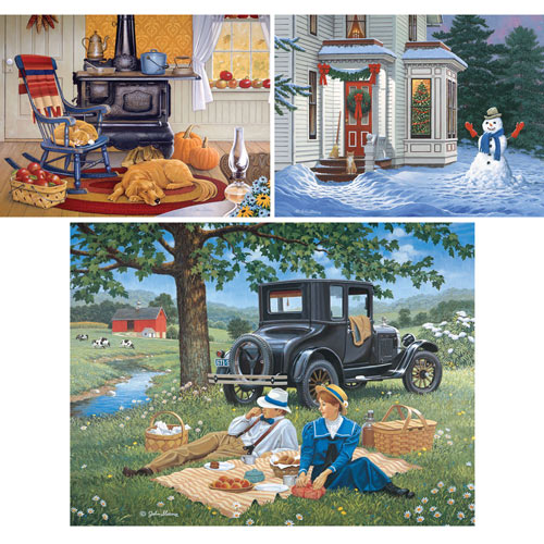 Set of 3: Prebox John Sloane 300 Large Piece Jigsaw Puzzles