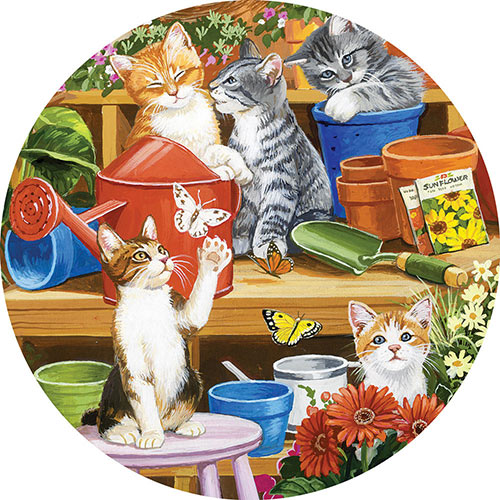 Garden Shed Kittens 500 Piece Round Jigsaw Puzzle