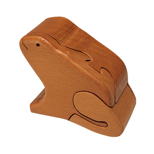 Wooden Frog Puzzle Box