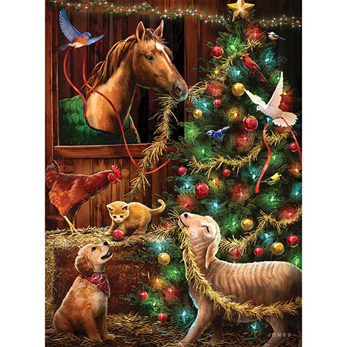 Christmas Barn 1000 Piece Glow-In-The-Dark Jigsaw Puzzle
