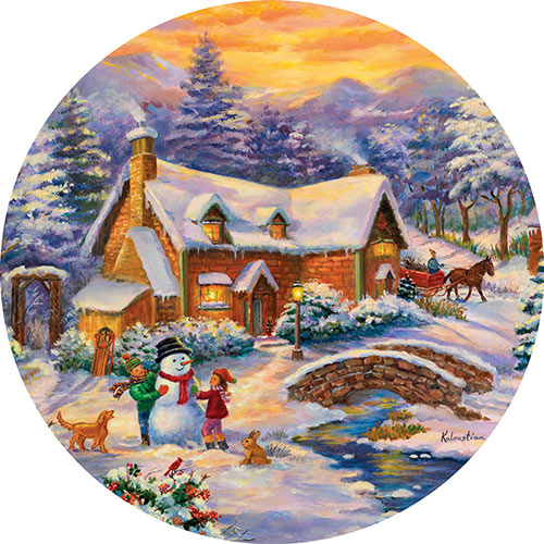 Winter Wonderland 500 Piece Round Jigsaw Puzzle