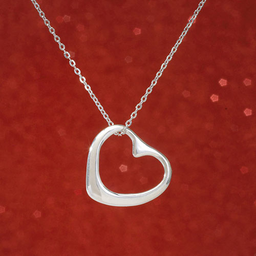 Sterling Floating Heart Necklace