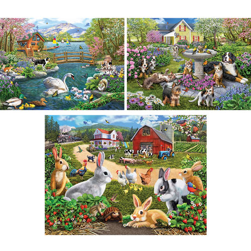 Set of 3: Pre-Boxed: Mary Thompson 300 Large Piece Jigsaw Puzzles