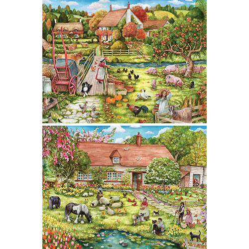 Set of 2: Cottage Life 1000 Piece Jigsaw Puzzles